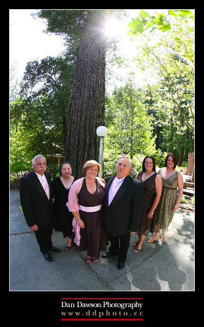 "Jim & Pam's family in front of Mount Hermon's ""Woodpecker Tree"""