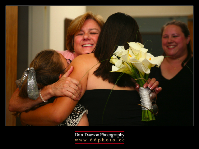 Pam immediately following the ceremony hugging the girls
