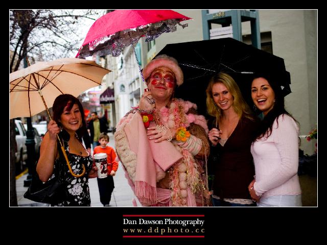 Seniors with the Pink Umbrella Man in Santa Cruz